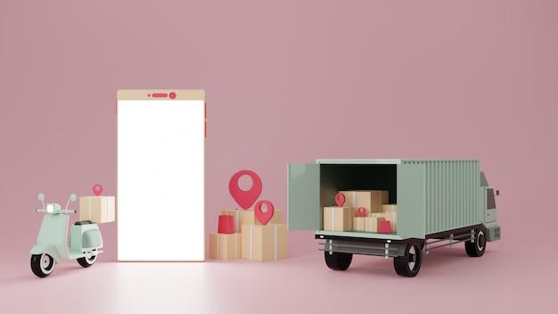 Motor en bestelwagen met smartphone op roze achtergrond