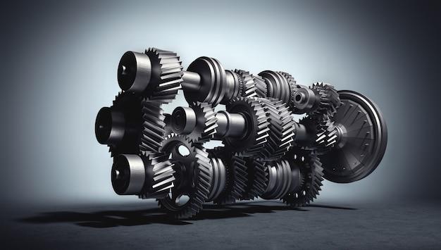 Motor met versnellingen en tandwielen