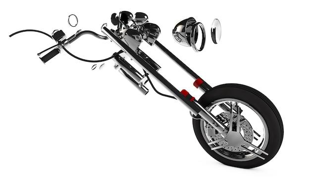 Motorfiets onderdelen op een afgelegen witte achtergrond 3d render