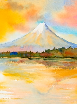 Mount fuji, lake kawaguchiko, beroemde bezienswaardigheid van japan.