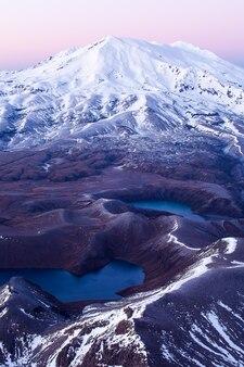 Mount ruapehu vanaf de top van mount ngauruhoe tongariro national park nieuw-zeeland