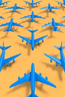 Mozaïek in perspectief van 3d-gerenderde vliegtuigen