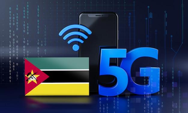 Mozambique klaar voor 5g-verbindingsconcept. 3d-rendering smartphone technische achtergrond