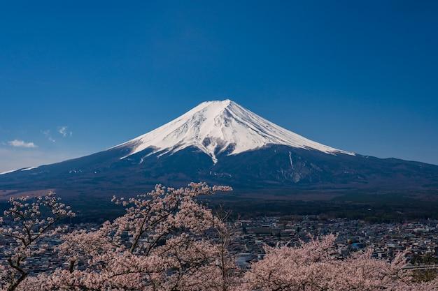 Mt. fuji in de de lentetijd met kers komt bij kawaguchiko fujiyoshida, japan tot bloei.