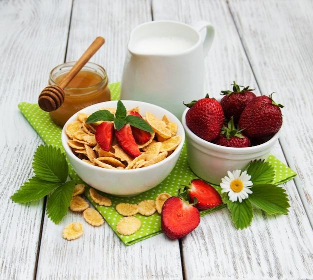Muesli met aardbeien