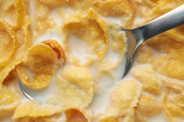 Muesli met melk en lepel, close-up