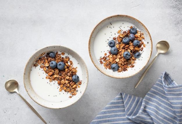 Muesli met yoghurt en bosbessen