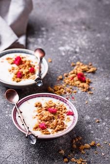 Muesli met yoghurt en gedroogde frambozen