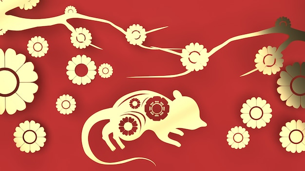 Muis en bloem gouden plaat op rode kleur voor chinees nieuwjaar inhoud.