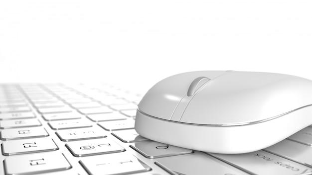 Muis op laptop op bureau selectieve aandacht op witte achtergrond.