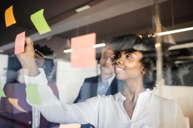 Multi-etnisch commercieel team op een brainstorming