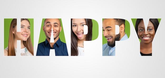 Multi-etnische groep mensen in letters van happy woord inscriptie