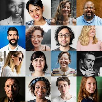 Multi-etnische groepen van verschillende mensen worden geconfronteerd met portretten