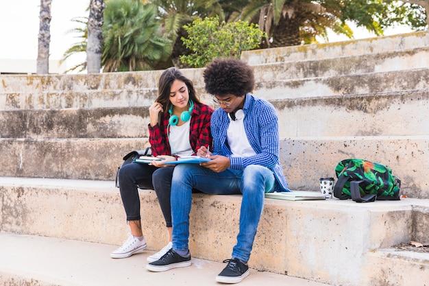 Multi etnische jonge paarzitting op trap die samen in het park bestuderen