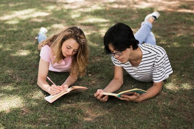 Multi-etnische studenten op gras in park met boeken