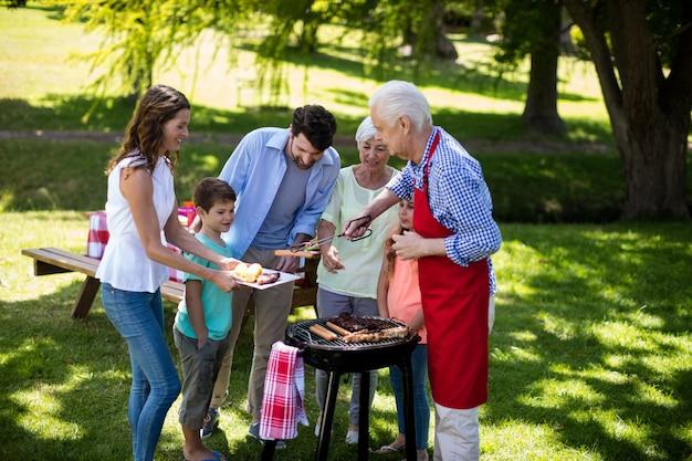 Multi generatie familie genieten van de barbecue in park