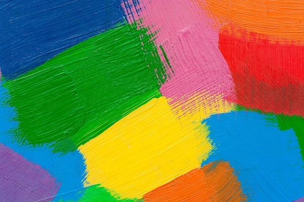 Multicolor abstracte slagen met olieverf.
