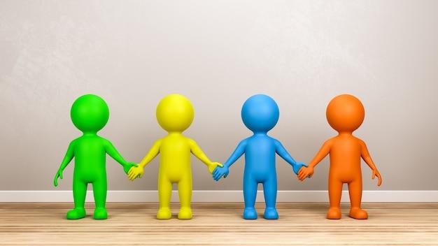 Multicolor menselijke 3d-personages hand in hand in de kamer