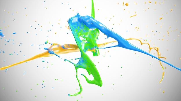 Multicolor paint splash in 3d-weergave