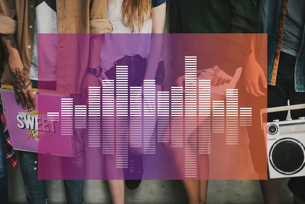 Multimedia-entertainment muziekbalken weergeven