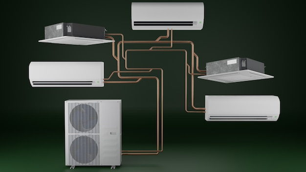 Multisysteem airconditioner één buitenunit en meerdere cassette airconditioner binnenunits 3d render
