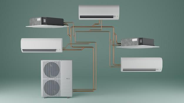 Multisysteem airconditioner groene achtergrond 3d render