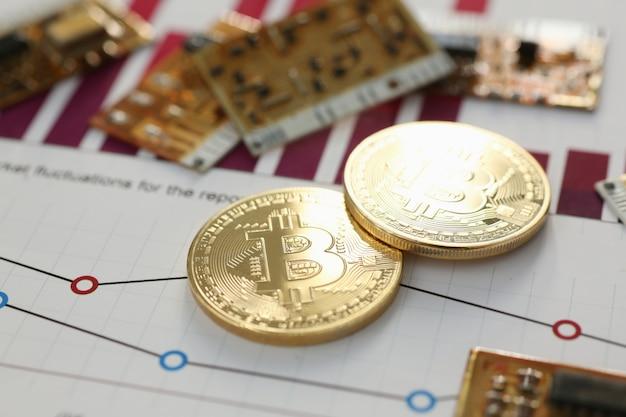 Munt crypto valuta bitcoin tegen de veranderende grafiek onderwerp goud ruilpiramide voor geld in verband met de groei of val wisselkoers close-up.