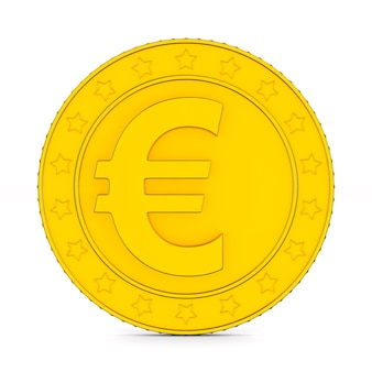 Munt met symbool euro op witte achtergrond. geïsoleerde 3d-afbeelding