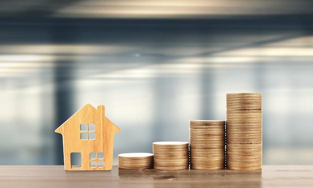 Munt stapel huis model spaarplannen voor huisvesting