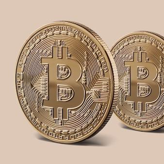 Munten bitcoin gouden virtuele cryptovaluta. munten bitcoin staan. conceptueel beeld voor wereldwijde cryptocurrency en digitaal betalingssysteem.