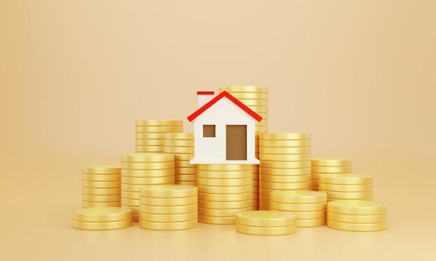 Munten en huis met pastel achtergrond. bespaar geld zakelijke financiën voor huis kopen. investeringen in onroerend goed concept