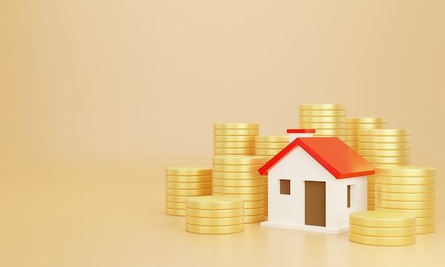 Munten en huis met pastel achtergrond. bespaar geld zakelijke financiën voor huis kopen.