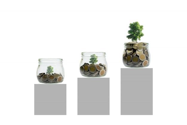 Munten en planten in fles, groei van bedrijfsinvesteringen en besparingsconcept.