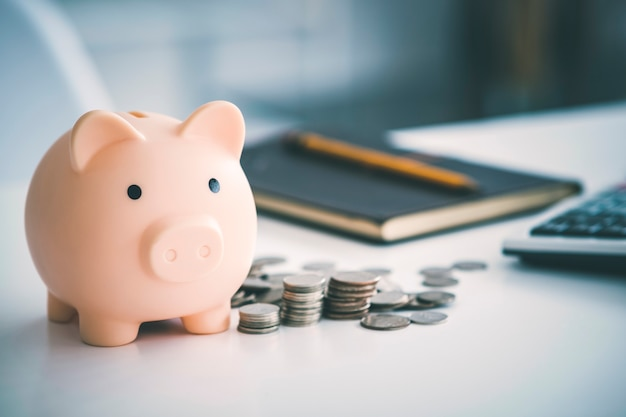 Munten geld rijkdom inkomensbesparing met spaarvarken concept. geld besparen concept.