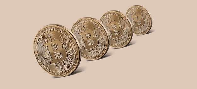 Munten gouden bitcoin virtuele crypto valuta. munten bitcoin staande op een beige achtergrond. conceptueel beeld voor wereldwijde cryptocurrency en digitaal betalingssysteem. kan worden gebruikt voor video- of siteomslag