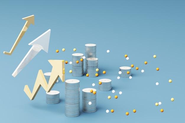 Munten grafiek zakelijke groei grafiek grafiek 3d render