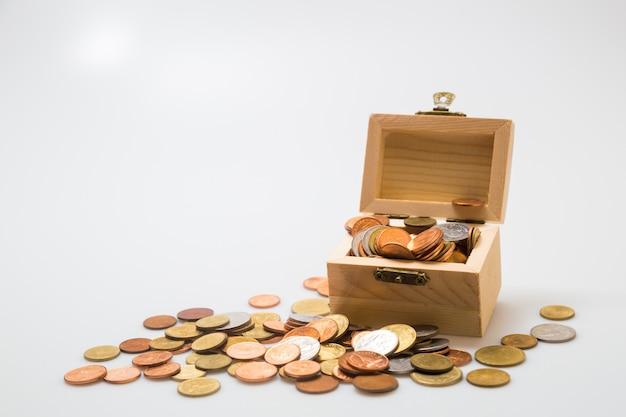 Munten in de borst. concept voor zaken en sparen