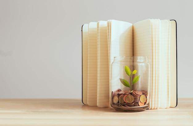 Munten in een fles en de groene boom met boek