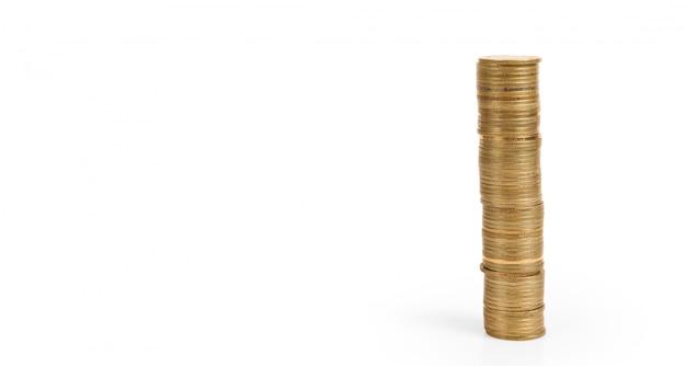 Munten stapels laten vallen gelabelde pensioen