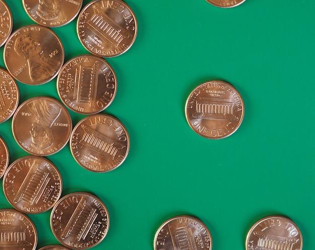 Munten van één cent, verenigde staten met kopieerruimte