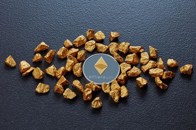 Muntethereum en goudklompjes als wereldtrends beide geïsoleerd op zwarte achtergrond digitale virtuele valuta elektronisch geld mijnbouw blockchain uitwisseling innovatie bedrijf