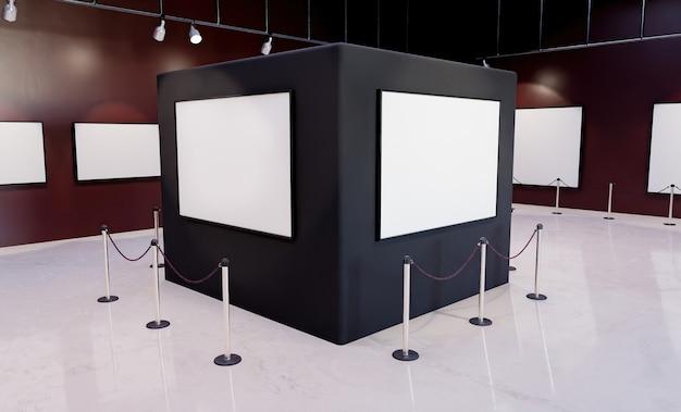 Museumzuil met mockups van kaders, verlichtende schijnwerpers en veiligheidshekken