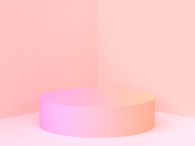 Muur hoek scène 3d-rendering roze kleurverloop