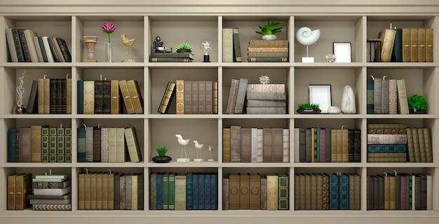 Muur houten achtergrond klassieke bibliotheekboeken of bibliotheekstudie of woonkamer, onderwijs