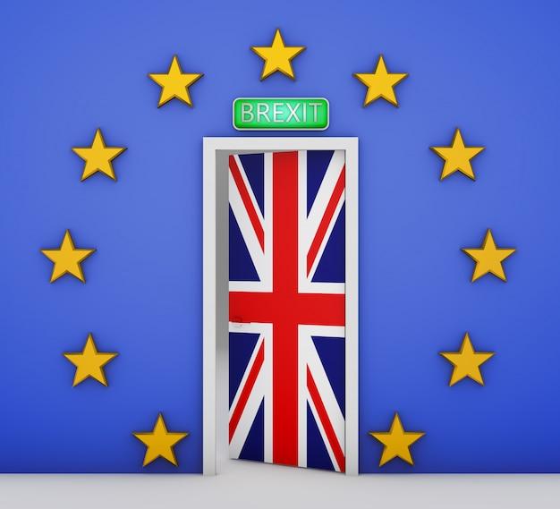 Muur in de vorm van een vlag van de europese unie en een deur met de vlag van groot-brittannië. 3d-rendering.
