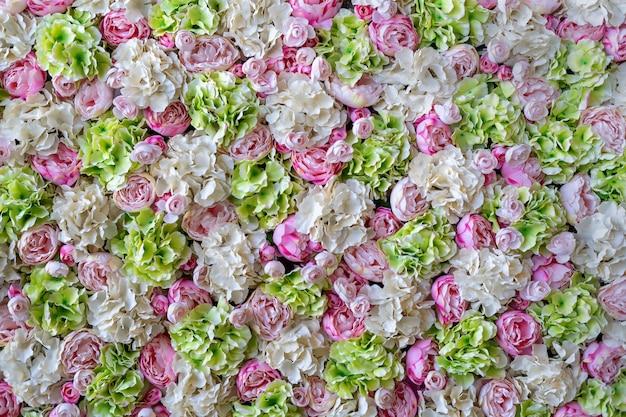 Muur roze en witte bloemen, rozen, groene bladeren