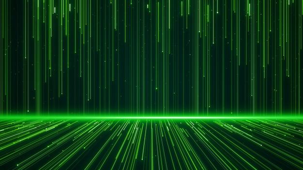 Muur van lijnen structuur geometrische vormen en deeltjes groene kleur. creatief ontwerp element abstracte achtergrond.