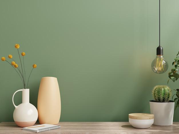 Muurmodel met vaas en groene plant, groene muur en plank. 3d-rendering