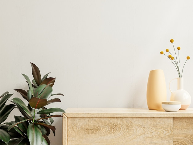 Muurmodel met vaas en groene plant, witte muur en plank. 3d-rendering