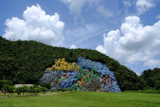 Muurschildering van de prehistorie, vinales valley in cuba